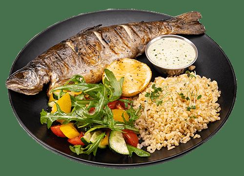 Форель гриль з булгуром та свіжими овочами | Піццерія мрія