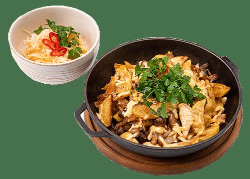 Картопля на сковороді з беконом | Піццерія мрія